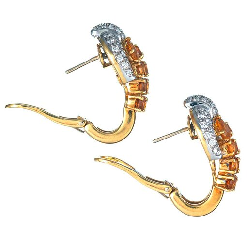 Cabochon Emerald, Ruby & Diamond Earrings