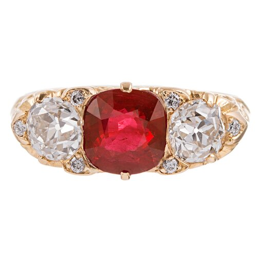 English Carved 3-Stone Ruby and Diamond Yellow Gold Ring