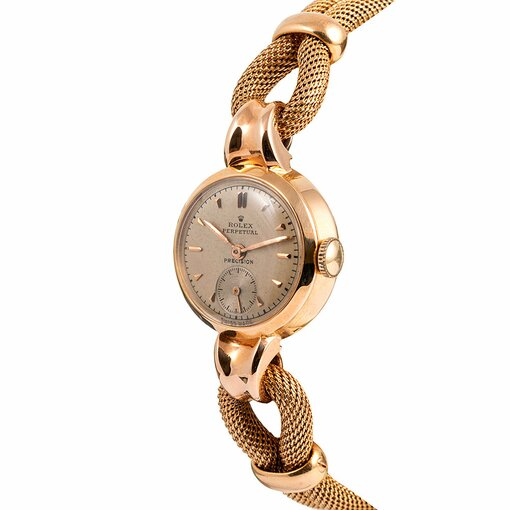 PRE-OWNED VINTAGE ROLEX 18KT ROSE GOLD LADY OVERSIZED AUTOMATIC WITH ROLEX MESH BRACELET