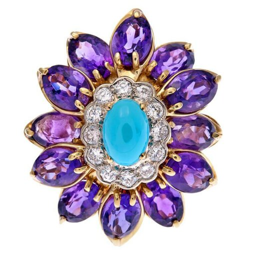 Turquoise, Amethyst, & Diamond Flower Ring