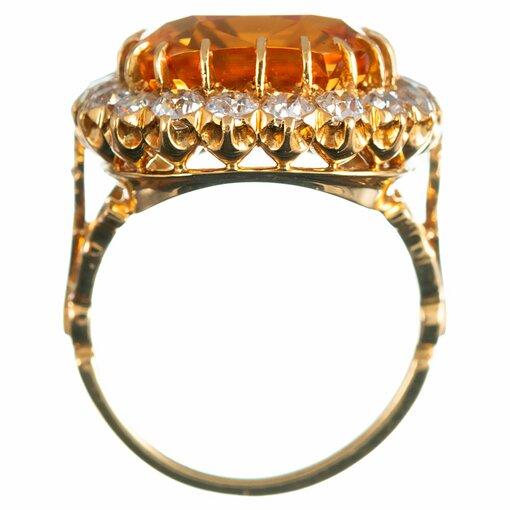 Antique Topaz & Diamond Cluster Ring