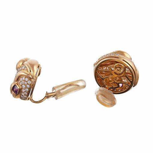 Diamond Pink Tourmaline Earrings, Signed Bulgari
