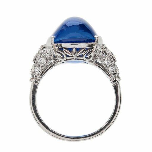 Important 26 Carat Ceylon No Heat Sugarloaf Sapphire Ring