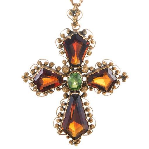 Victorian Hessonite Tsavorite Garnet Gold Cross