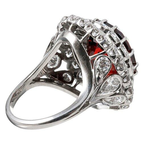 18.14 Carat Spessartite Garnet & Diamond Cocktail Ring
