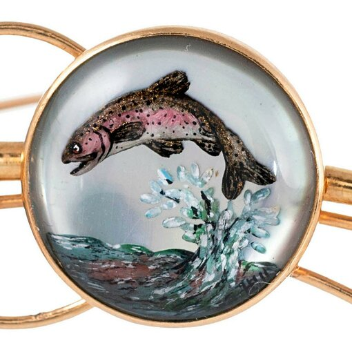Victorian Reverse Painted Crystal Flying Fish Pin