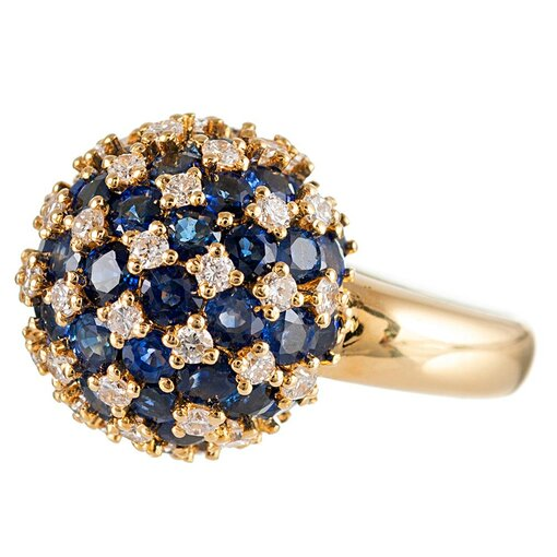 Sapphire and Diamond Checkerboard Sphere Ring