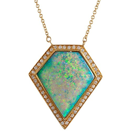 4.81 Carat Opal and Diamond Cluster Pendant