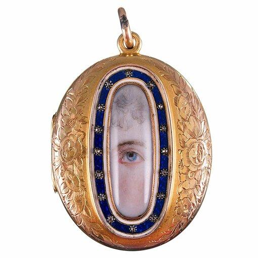 Victorian Lover's Eye Locket Pendant