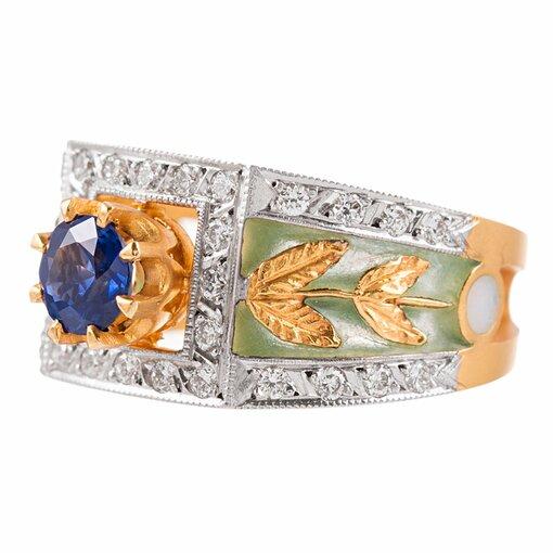 Plique a Jour Enamel, Emerald & Diamond Ring, signed Masriera