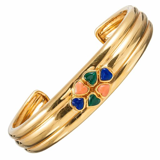 Coral, Malachite & Lapis Heart Cluster Cuff, signed Van Cleef & Arpels