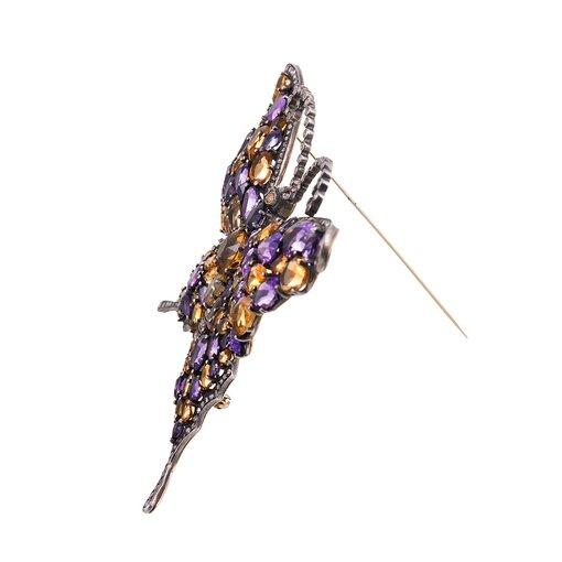 Extra Large Amethyst, Diamond & Citrine Butterfly Brooch