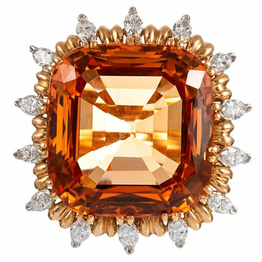 """45.91 Carat """"No Heat"""" Topaz and Diamond Cluster """"Ring-Dent"""", signed """"EJ Cooper"""""""