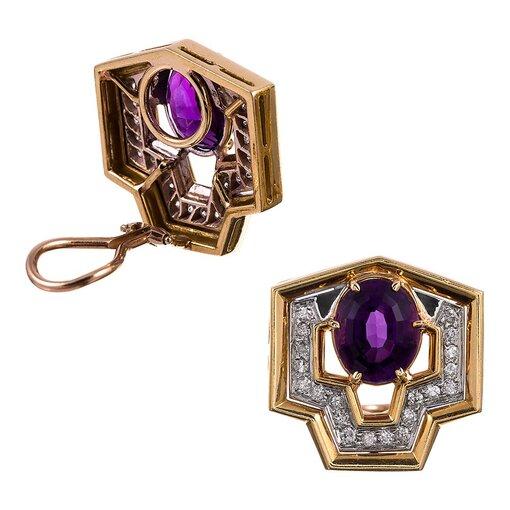 1980s Geometric Amethyst Diamond Gold Earrings