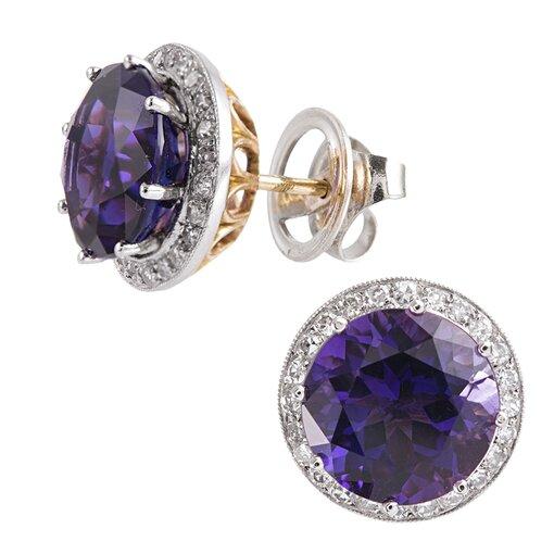 6.60 Carat Amethyst & Diamond Stud Earrings