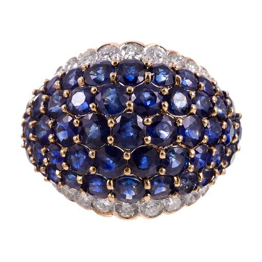 Sapphire and Diamond Dome Cocktail Ring