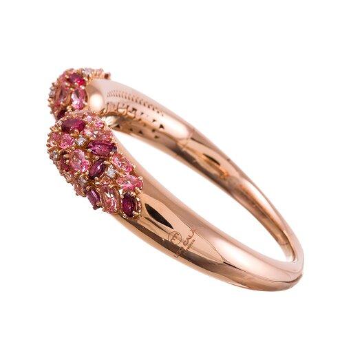 Ugo Cala Pink Topaz Diamond Tipped Gold Cuff Bracelet