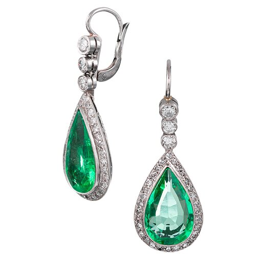 7.50 Carat Colombian Pear Emerald & Diamond Earrings