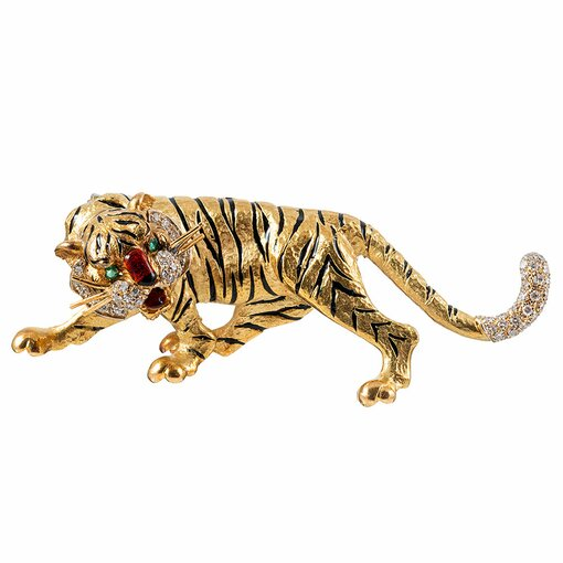 1960s Enamel & Diamond Tiger Brooch