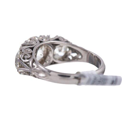 18 Karat White Gold & Diamond English Carved Ring