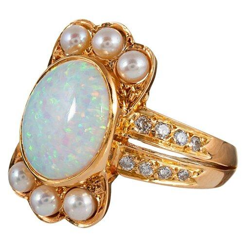 "Opal, Diamond & Pearl ""Crown"" Ring"