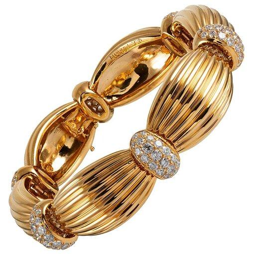 "French Yellow Gold & Diamond Bracelet, signed ""OJ Perrin"""