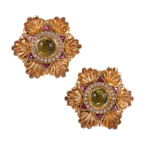1980s Carved Citrine Ruby Peridot Diamond Six-Pointed Star Earrings