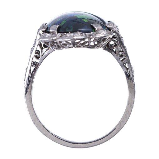 Magnificent Art Deco Black Opal Platinum Plaque Ring