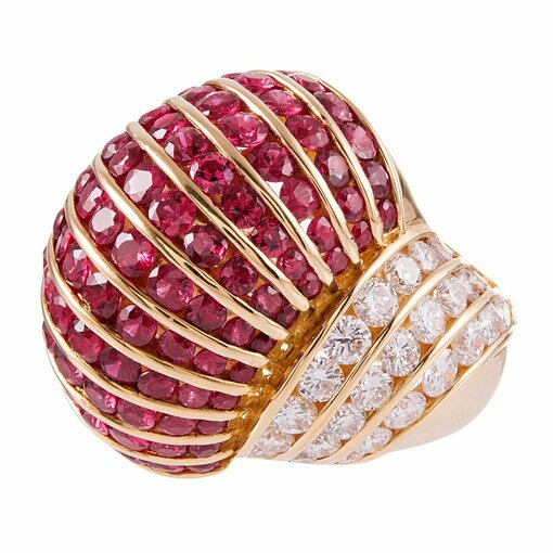 Ruby & Diamond Dome Cocktail Ring