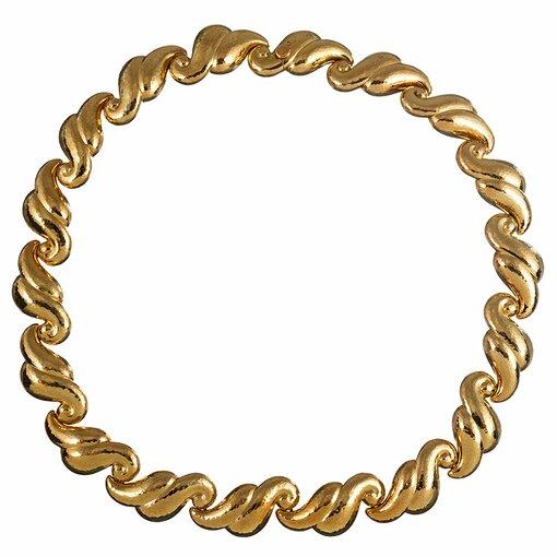 Scrolling Golden Link Necklace, signed DeVroomen