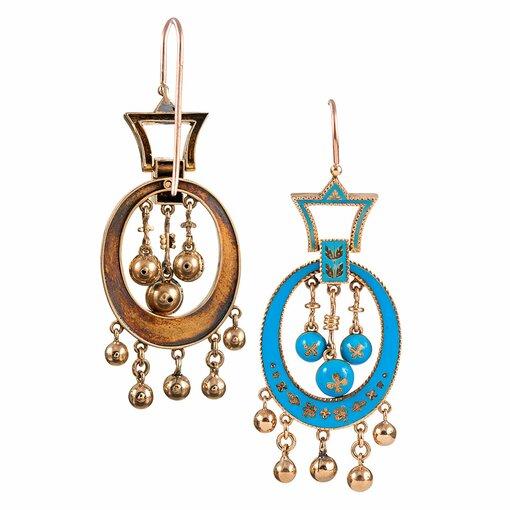 Antique Robin's Egg Blue Enamel Fringe Earrings