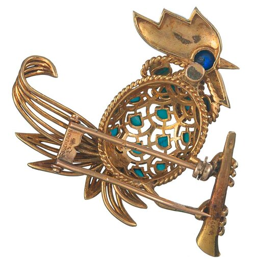 Bird Motif Brooch with Turquoise & Lapis, signed Boucheron
