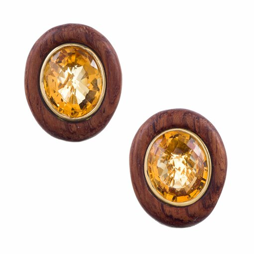 Wood Citrine Yellow Gold Earrings