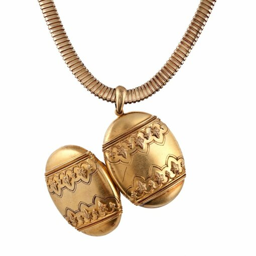 Victorian Yellow Gold Oversized Locket and Box