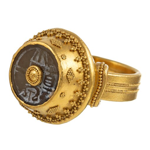 Byzantine Inspired Ring with Carved Agate, signed Luna Felix