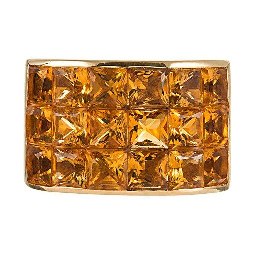 Wide Tile Set Citrine Ring