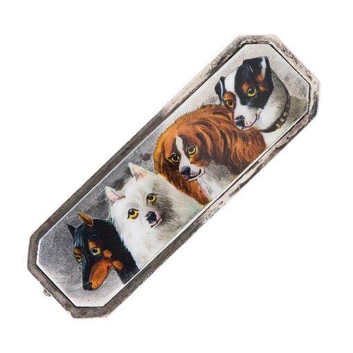 Enamel Silver Dog Motif Pin