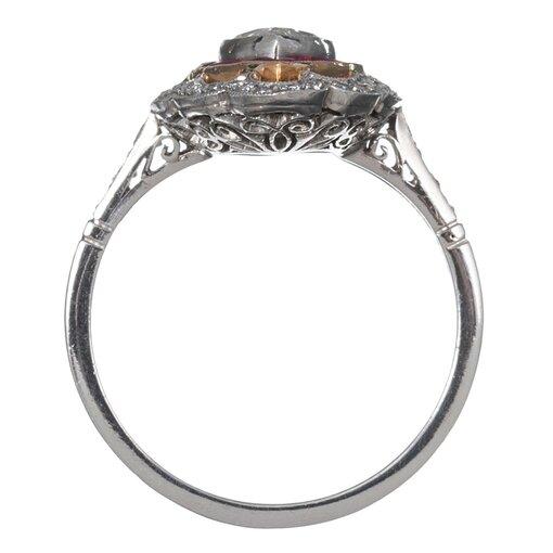 1.02 Carat Marquis Diamond & Ruby Ring