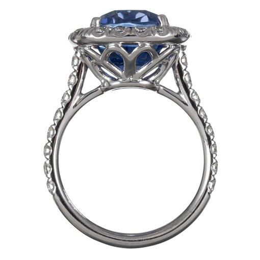 7.23 Carat No Heat Ceylon Sapphire & Diamond Ring