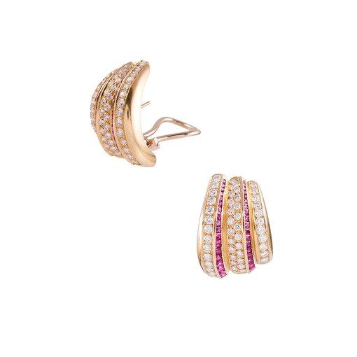 Striped Ruby Diamond Modified Hoop Earrings