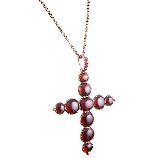 Oversized Victorian Garnet Cross