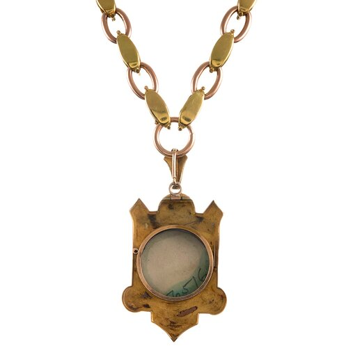 """English Victorian """"Lover of Animals"""" Two Color Gold Miniature Picture Locket"""