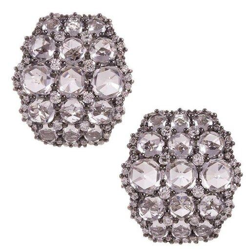 White Topaz and Diamond Cluster Earrings