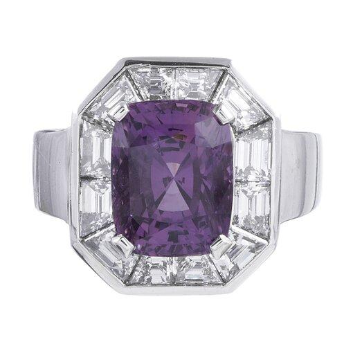 6.12 Carat Pink Purple Sapphire Diamond Ring