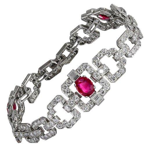 Art Deco Natural Burmese Ruby and Diamond Bracelet
