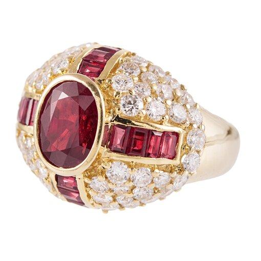 1980s Ruby & Diamond Dome Ring