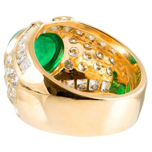 6 Carat Cabochon Emerald & Diamond Dome Ring