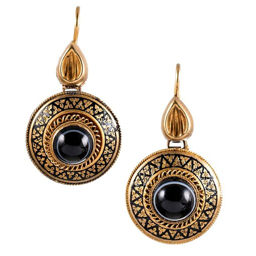 Victorian Banded Agate & Enamel Drop Earrings