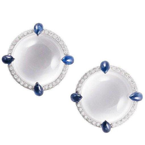 Seaman Schepps White Quartz, Blue Sapphire, and Diamond Earrings
