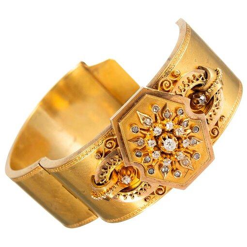 Victorian Locket Bangle with Diamonds